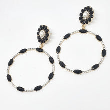 Load image into Gallery viewer, Crystal Black + Pearl Circle Drop Earrings