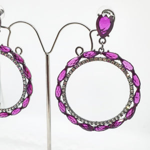 Crystal Cerise Drop Hoop Earrings