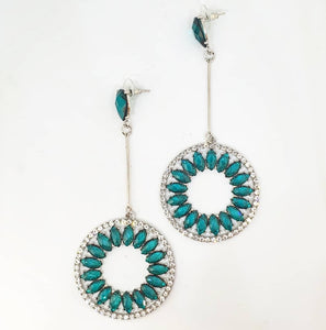 Crystal Teal Chandelier Drop Hoop Earrings