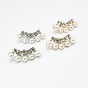 Silver Crystal and Pearl Lobe Climber Earrings