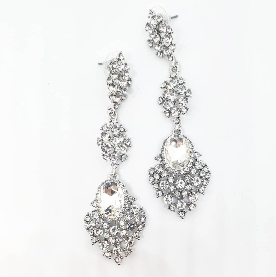 Silver Crystal Chandelier Earrings