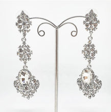 Load image into Gallery viewer, Silver Crystal Chandelier Earrings