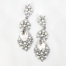 Load image into Gallery viewer, Silver Crystal and Pearl Chandelier Earrings