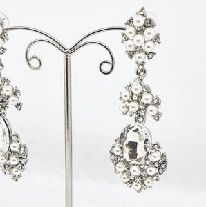 Silver Crystal and Pearl Chandelier Earrings
