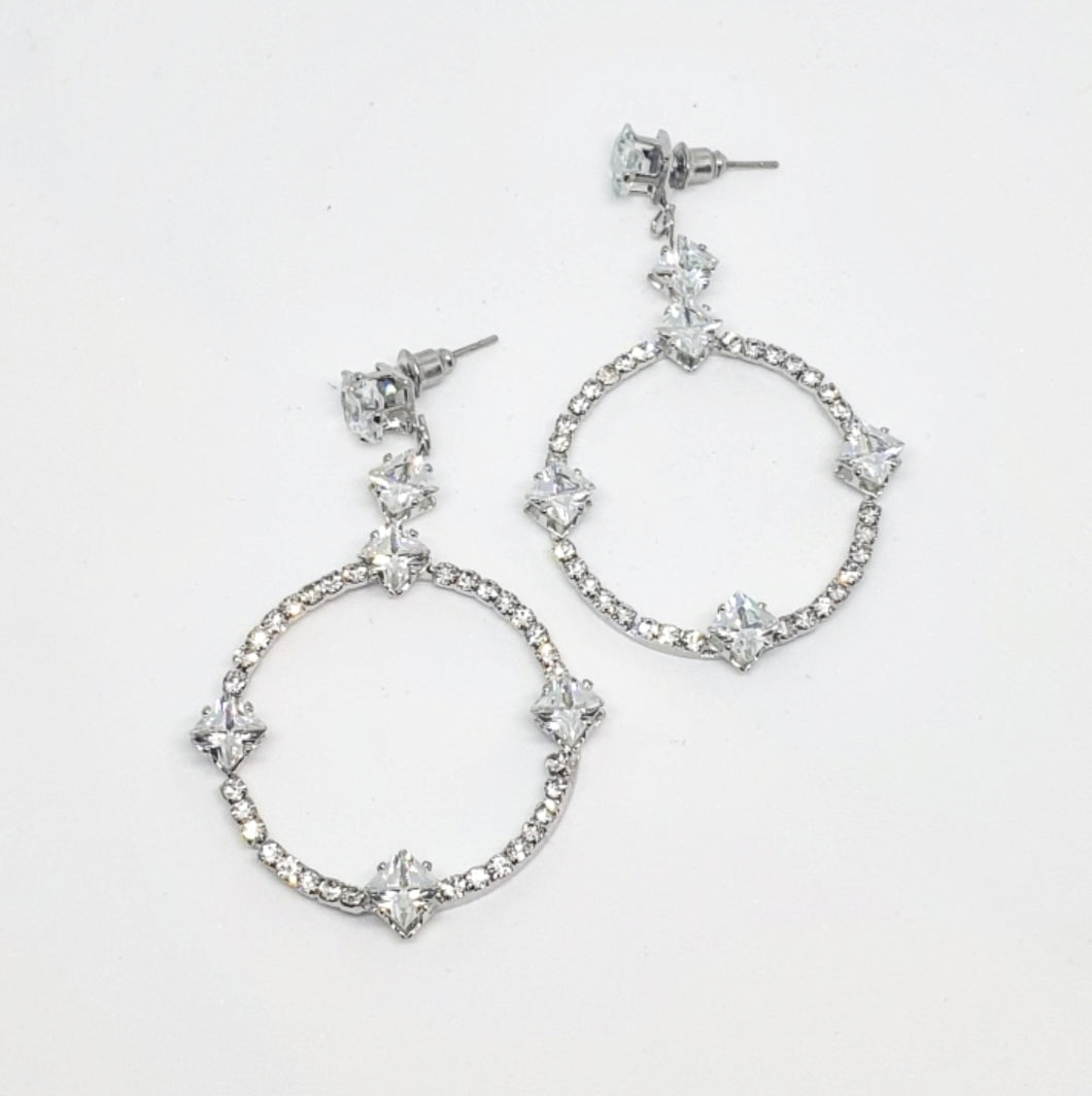 Silver Crystal Drop Hoop Earrings