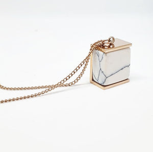 White Marble + Rose Gold Long Pendant Necklace
