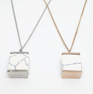 White Marble + Silver Long Pendant Necklace