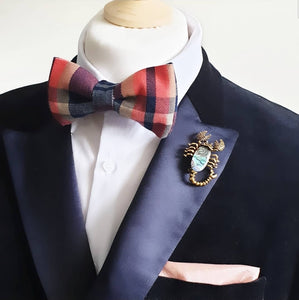 Tartan Tweed Pre Tied Adjustable Bow Tie