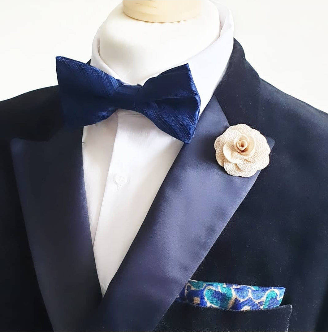 Blue Embossed Pre Tied Adjustable Bow Tie