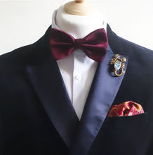 Load image into Gallery viewer, Burgundy Satin Pre Tied Adjustable Bow Tie