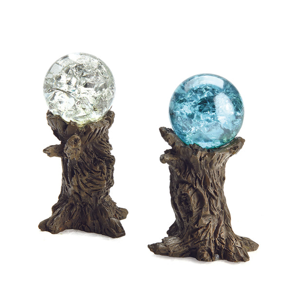 Stump Gazing Ball Pick, Clear and Blue Crackle (Set of 2)