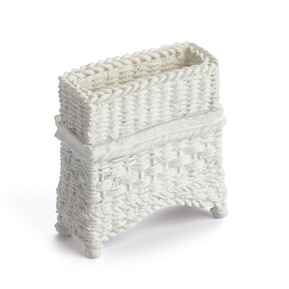 Wicker Plant Stand, White
