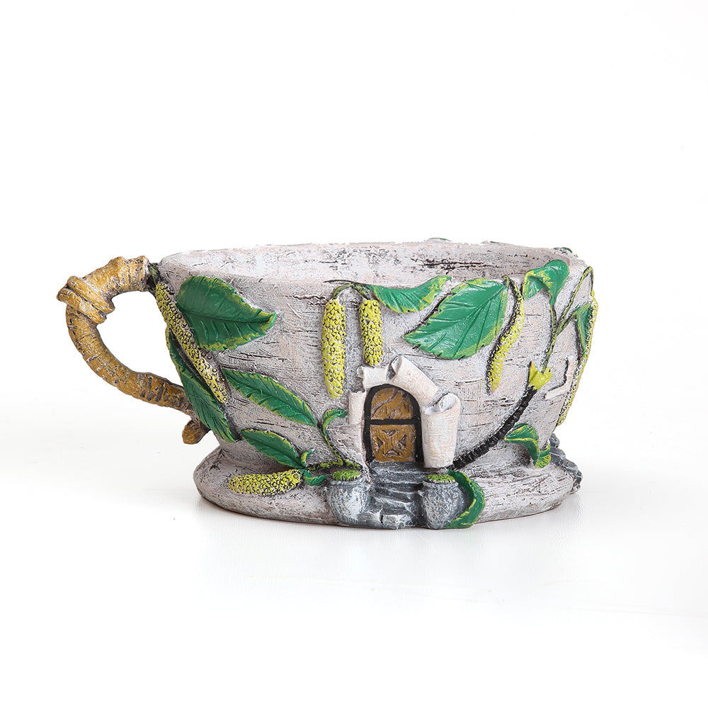 Birch Bark & Catkin House Tea Cup Planter