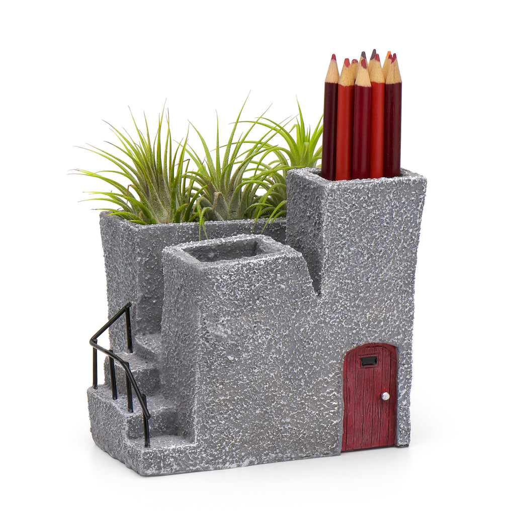 Adobe Desktop Planter & Pen Holder, Red