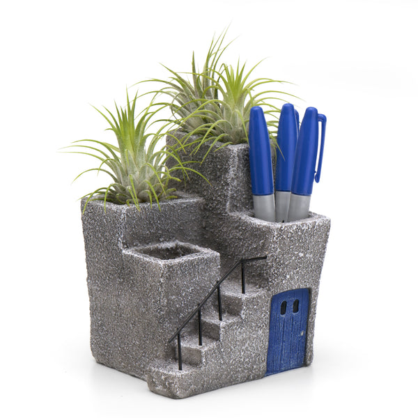 Adobe Desktop Planter & Pen Holder, Blue