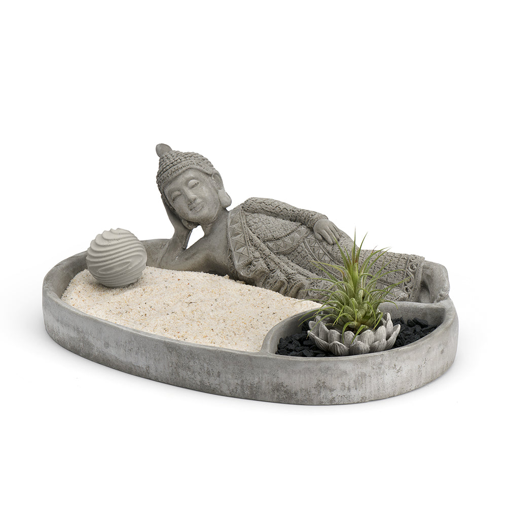 Reclining Buddha Sand Plate and Planter, Cement