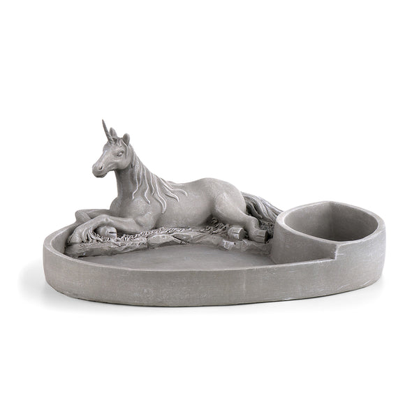 Unicorn Sand Plate and Deep Planter, Cement