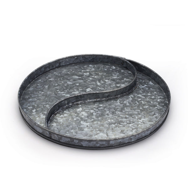 Yin Yang Sand Plate, Galvanized Gun Metal Finish