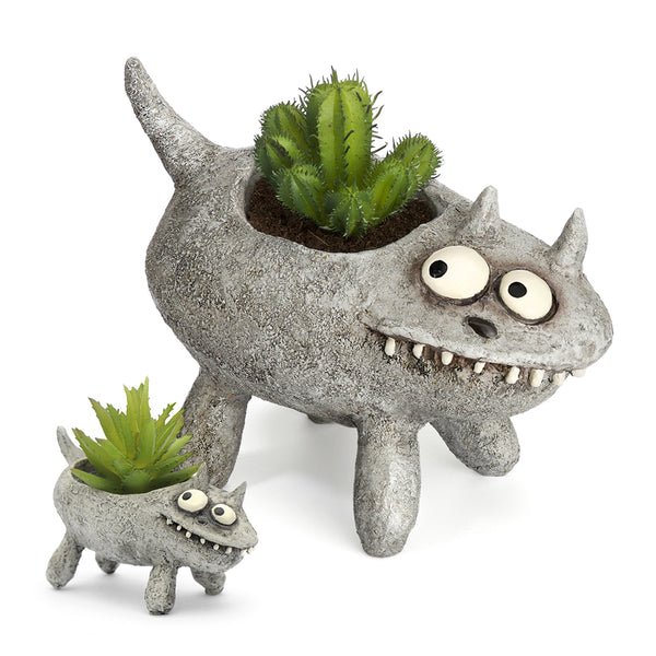 Fluffy Cat Mom & Baby Planters (Set of 2)