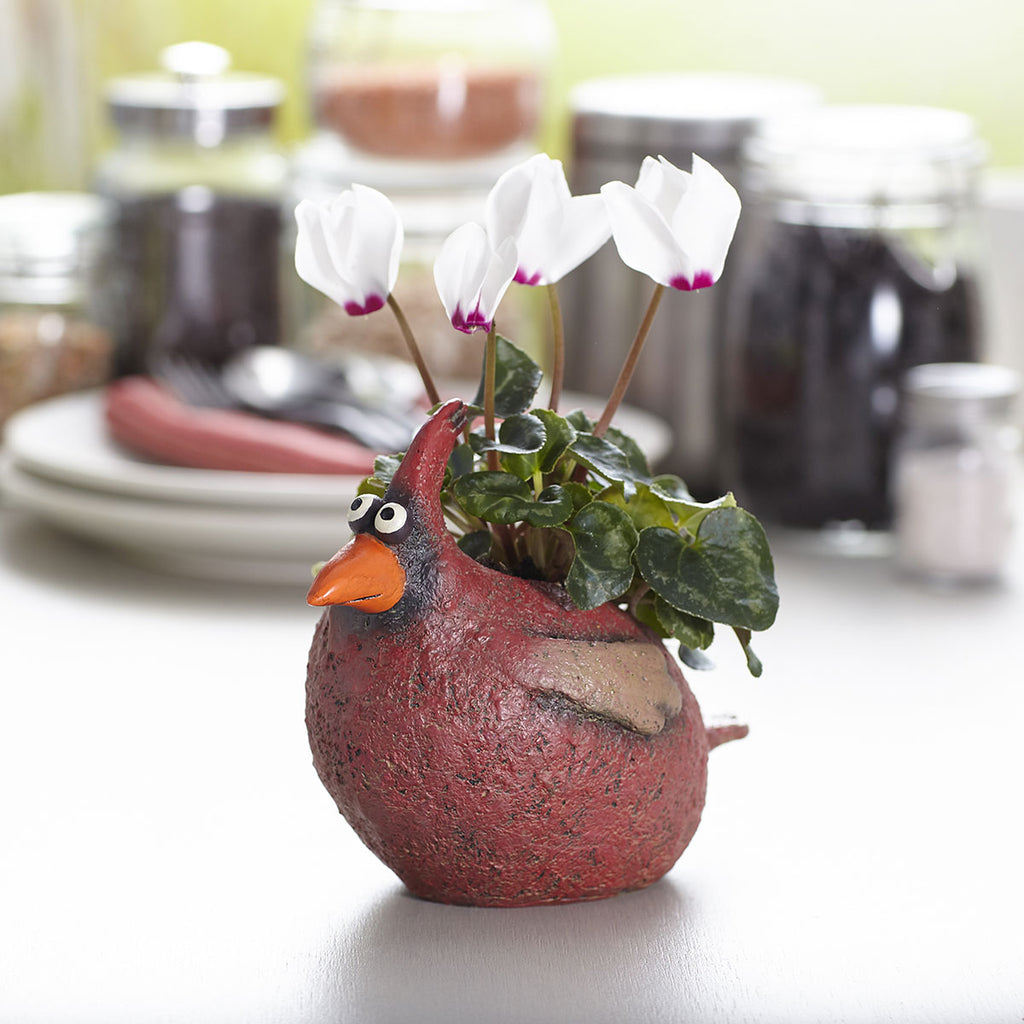 Red Cardinal Bird Planter