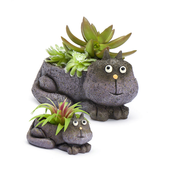 Violet Cat Mom & Baby Planters (Set of 2)
