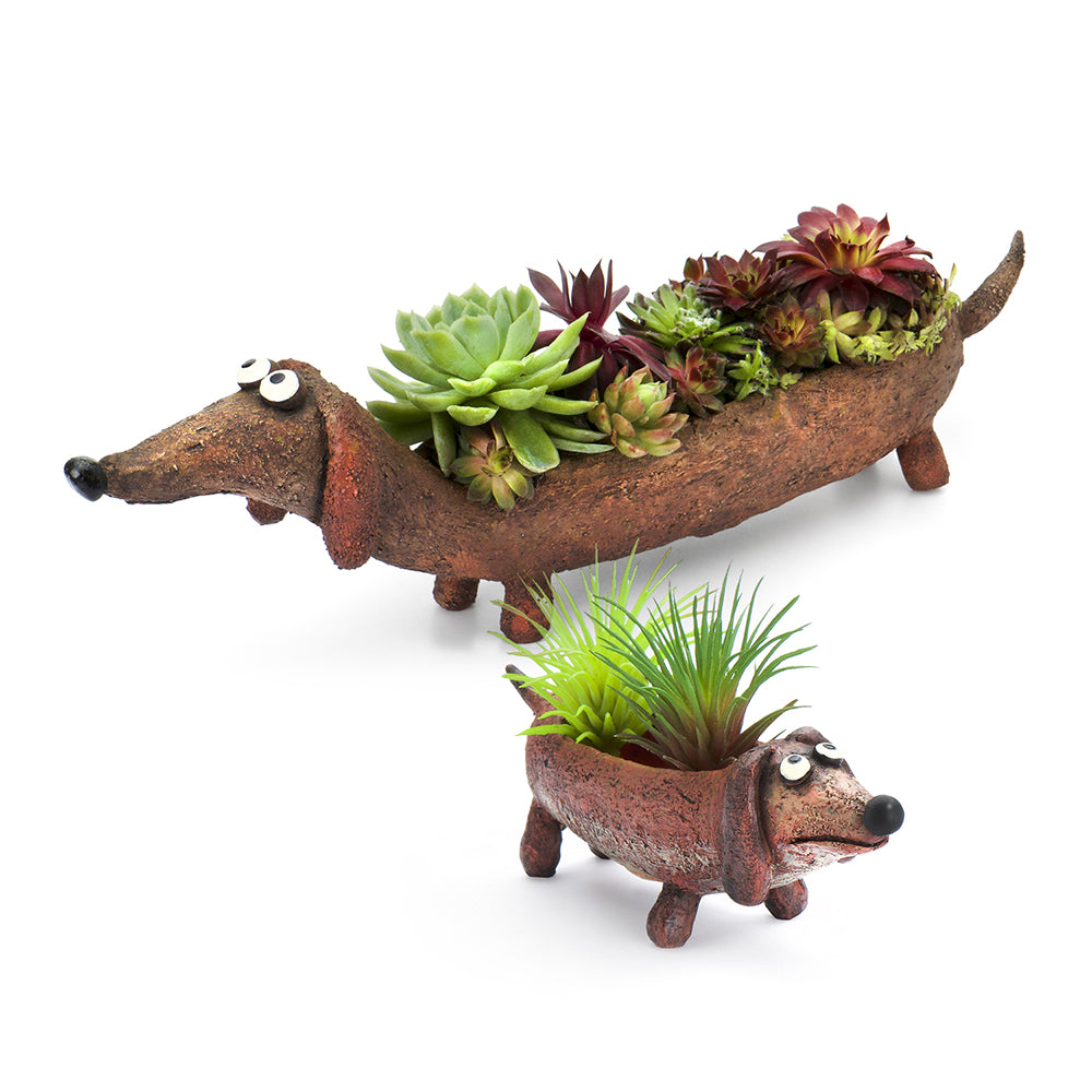 Dachshund Mom & Baby Planters (Set of 2)