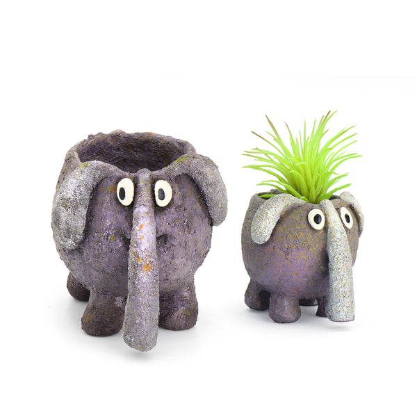 Elephant Mom & Baby Planters (Set of 2)