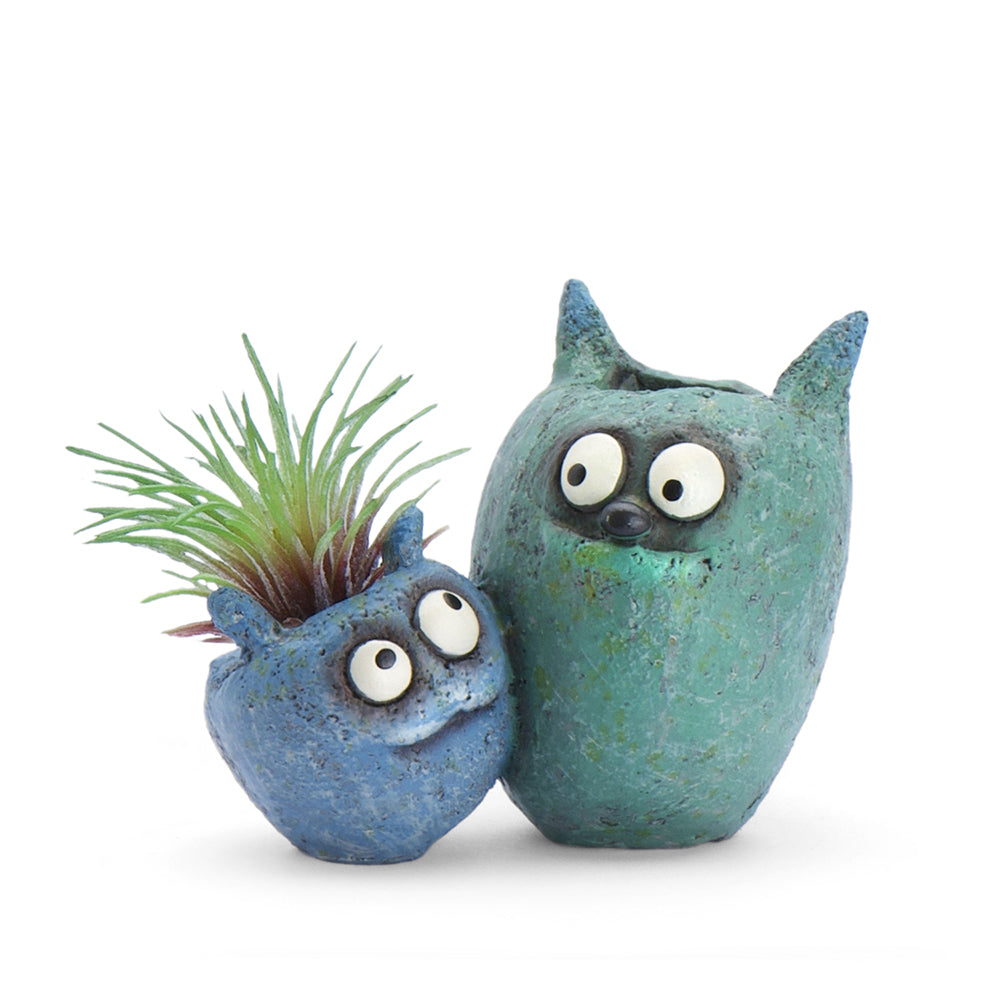 Wingman the Monsters Bloomies Double Planter, Blue & Teal