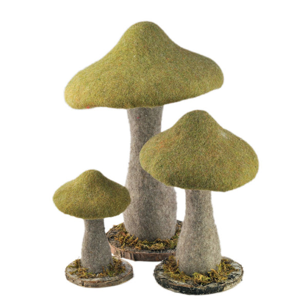 Green Parasol Mushroom Set (3 Pieces)