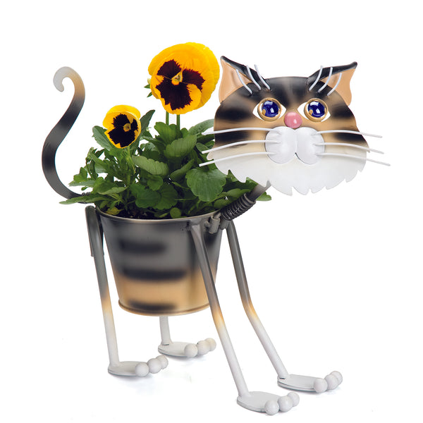 Stray Kitty Metal Planter