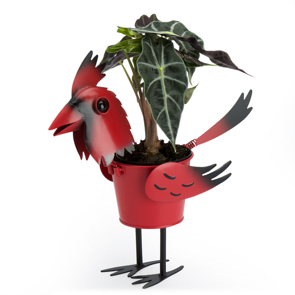 Cardinal Bird Metal Planter