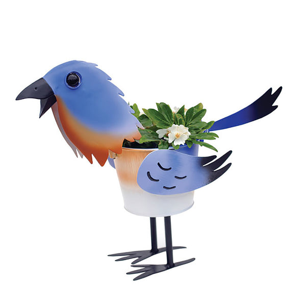 Blue Bird Metal Planter