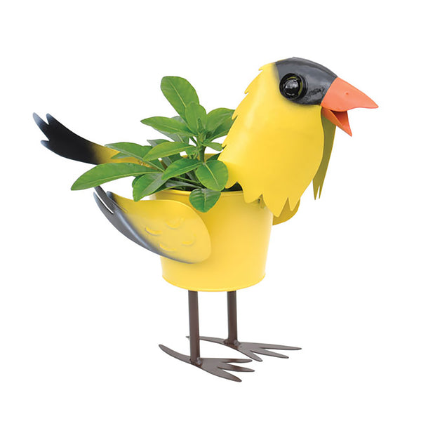 Goldfinch Bird Metal Planter