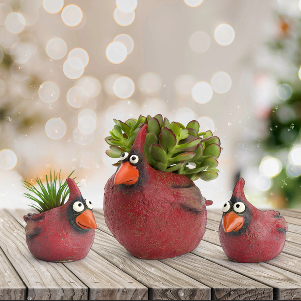 Cardinal Family Planters (Set of 3)