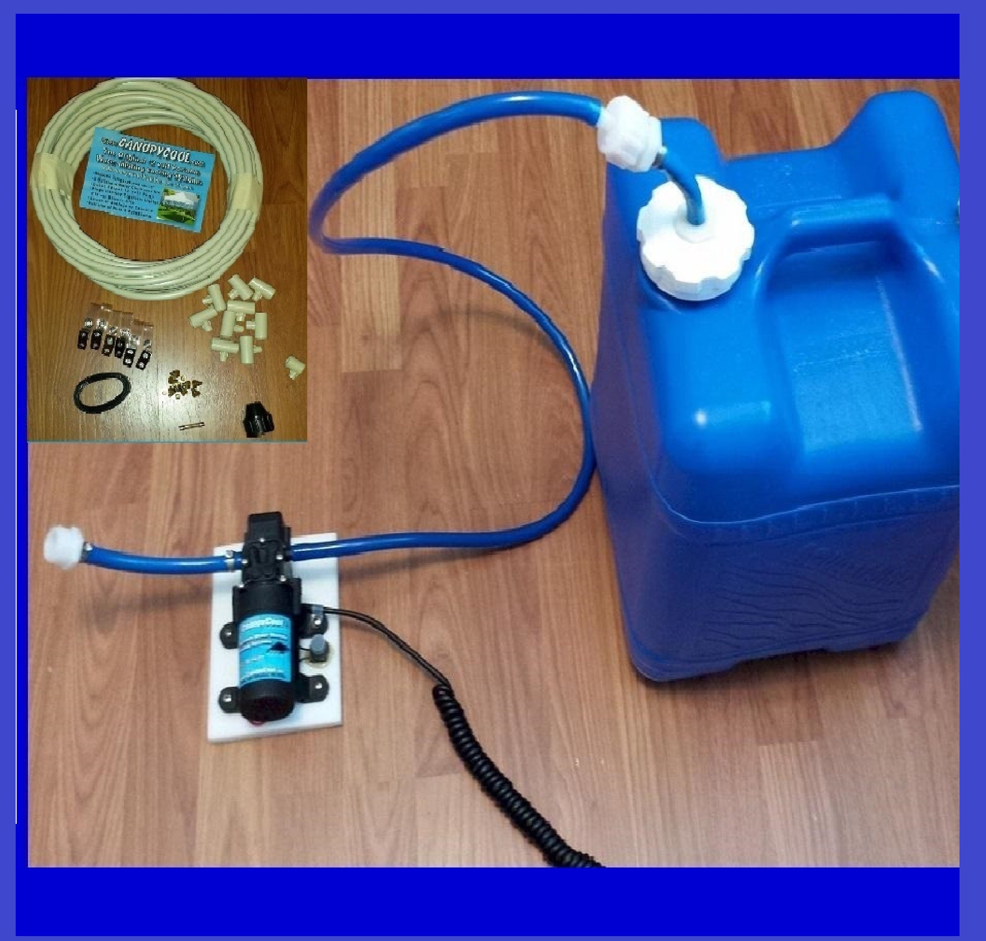 BACK ORDERED TILL  Sept 1st. CPA7 Pump Assembly Misting System w/7 Gal Carrier -The Original System Made in USA!! You cut and assemble to your specific needs!