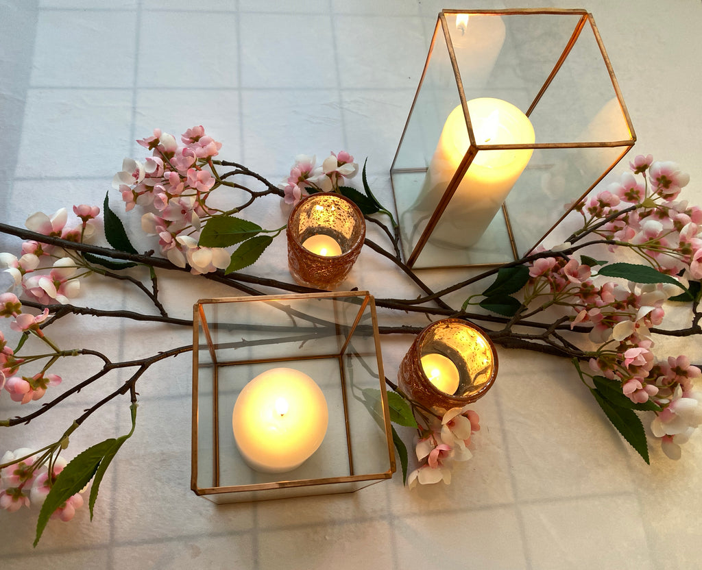 Vintage Copper Rectangular Hurricane Candle Holders