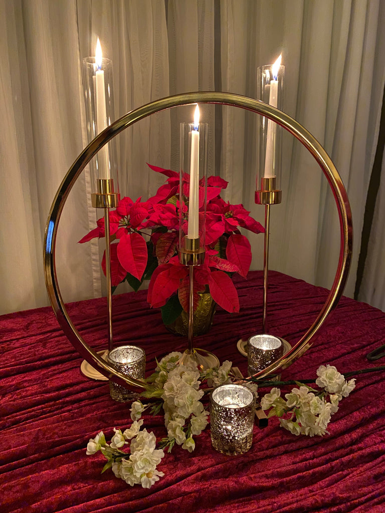 Gold Candlestick Holder with Glass Shades - Set of 3