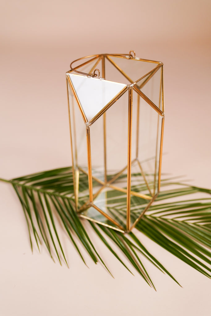 Large Emerald Cut Gold Geometric Lantern With Handle