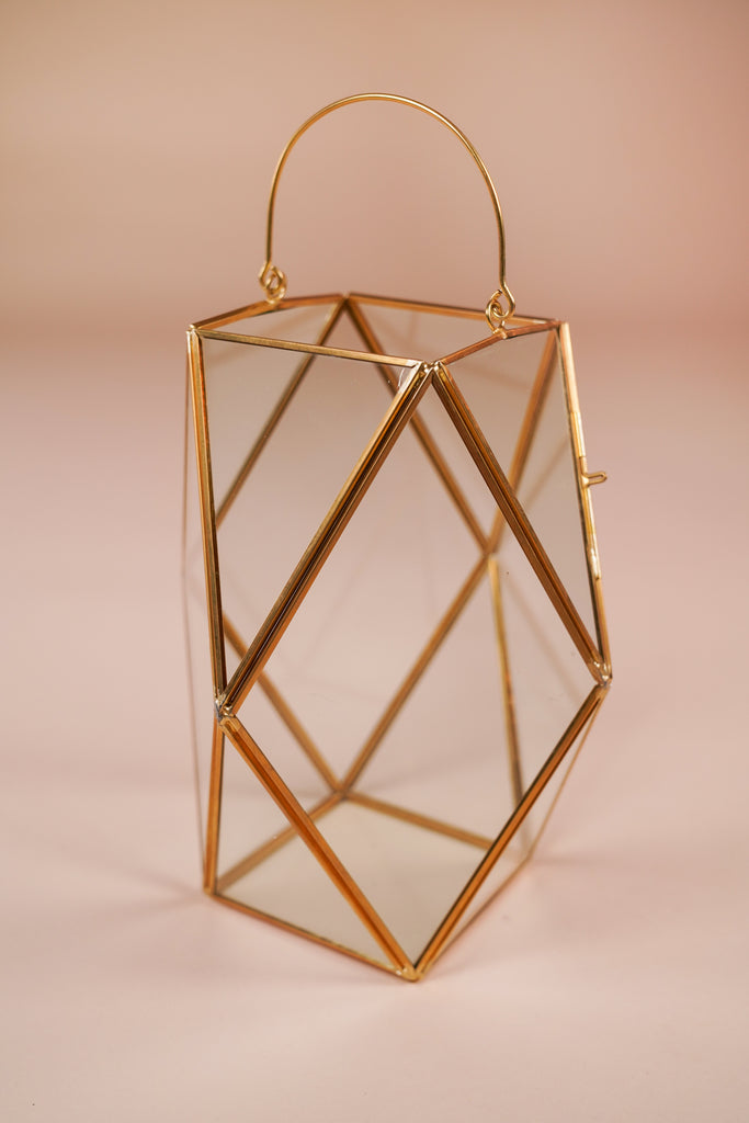 Medium Emerald Cut Gold Geometric Lantern With Handle