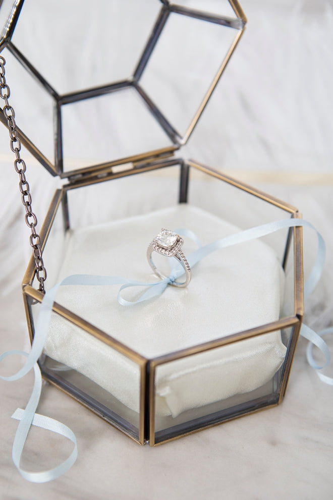 Hexagon Glass Jewelry Keepsake Box