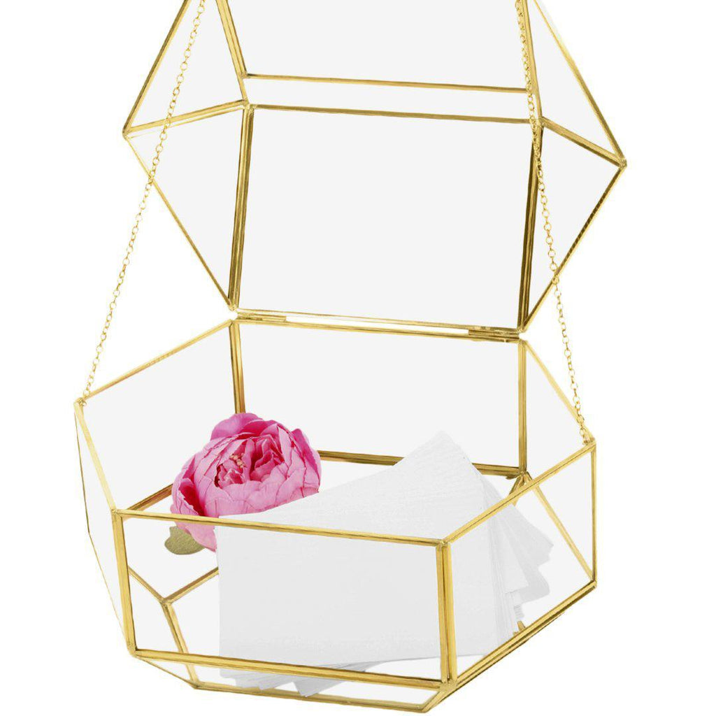 Gold/Rose Gold Glass Terrarium Card Box with Latch Lid