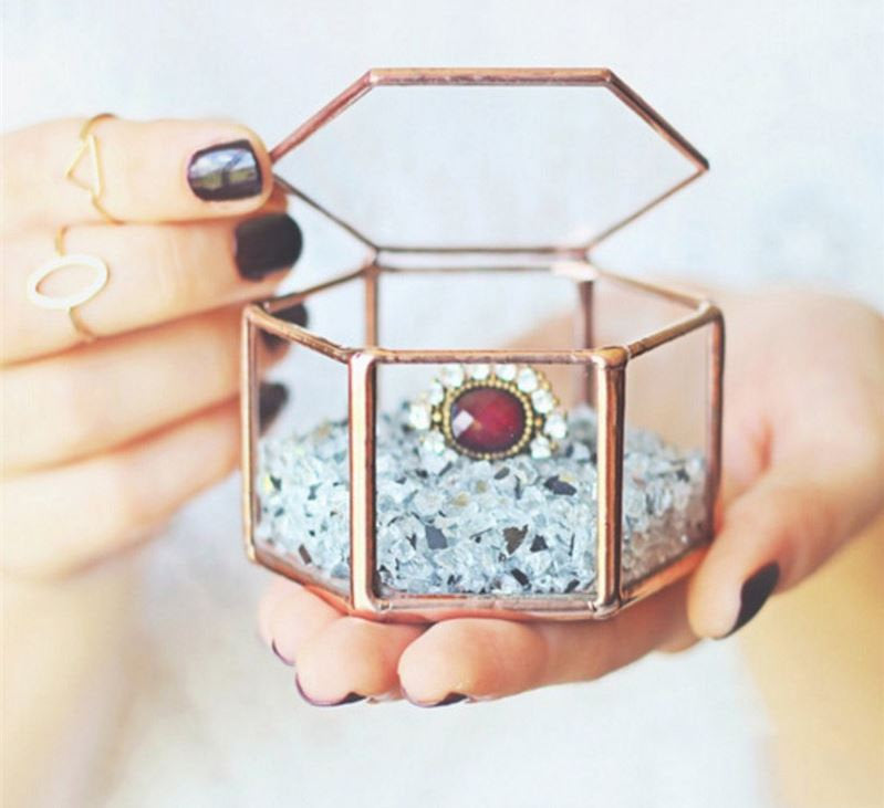 Rustic Geometric Terrarium Ring Box