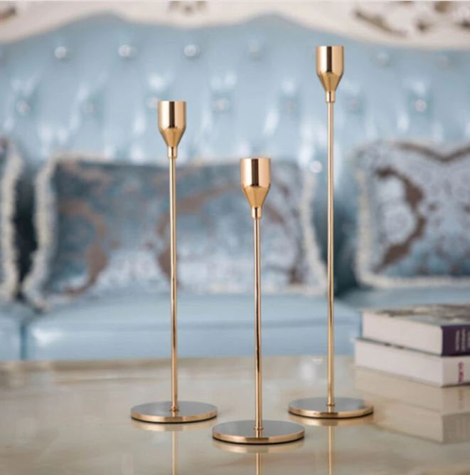 Gold Taper Candlestick Holders - Set of 3