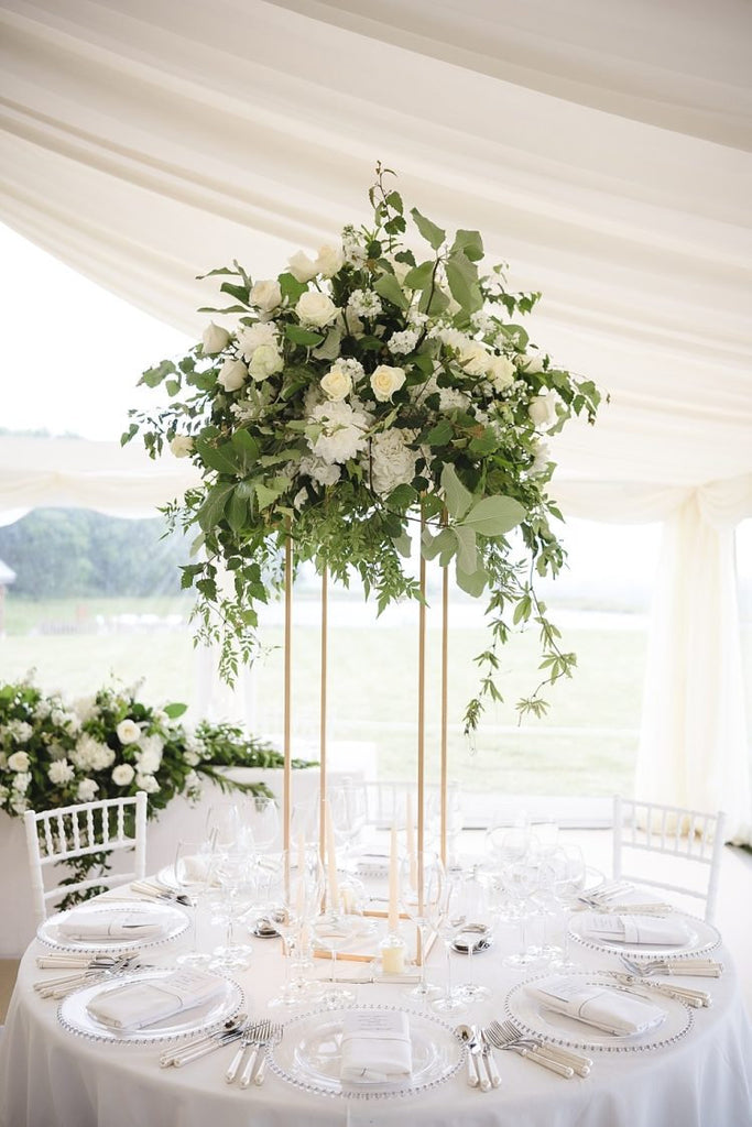 Gold - Modern Rectangular Tall Centerpiece