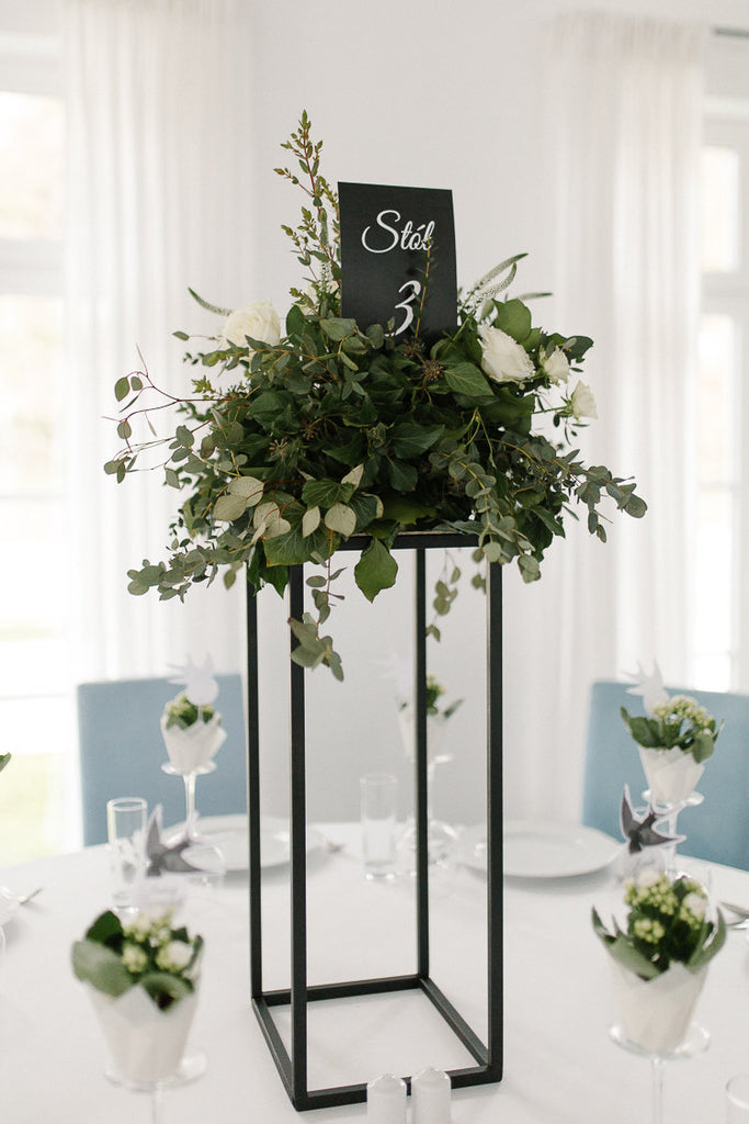 Matte Black Modern Rectangular Tall Metal Stand Wedding Centerpiece