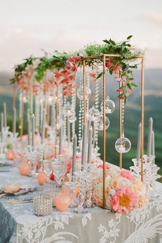 Rose Gold - Modern Rectangular Tall Metal Stand Wedding Centerpiece Plated