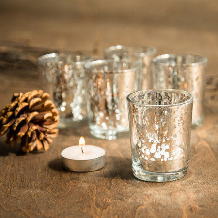 Gold/Rose Gold Mercury Glass Votives - Set of 15