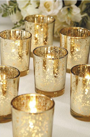 Gold Mercury Glass Votives - Set of 15