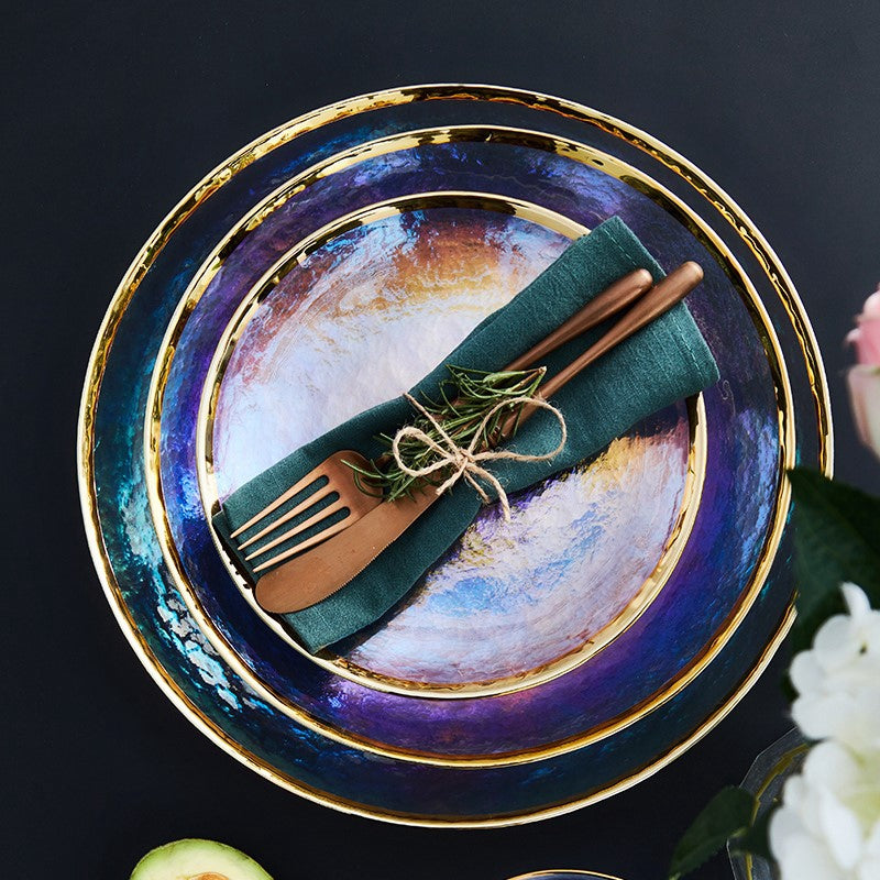 Iridescent Glass Charger with Gold Rim