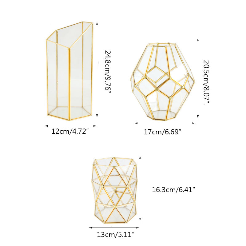Gold Glass Geometric Hurricane Lanterns